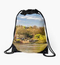 countryside river Drawstring Bag