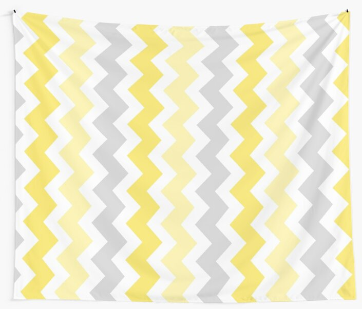 Yellow Grey Chevron Pattern by dreamingmind
