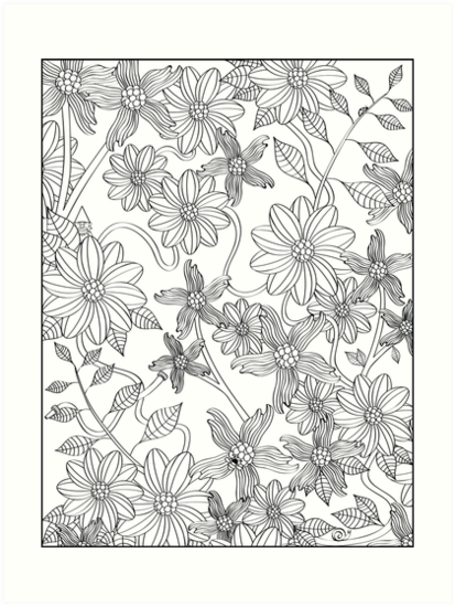 Enchanting English Garden Adult Coloring Art Print