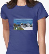 Santorini Island Greece Womens Fitted T-Shirt
