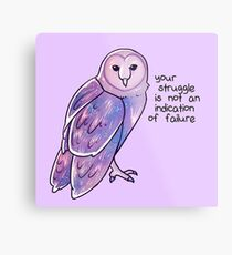 """Your Struggle is Not an Indication of Failure"" Galaxy Sparkle Owl Metal Print"