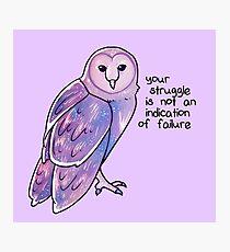 """Lámina fotográfica """"Tu lucha no es una indicación de fracaso"""" Galaxy Sparkle Owl"""