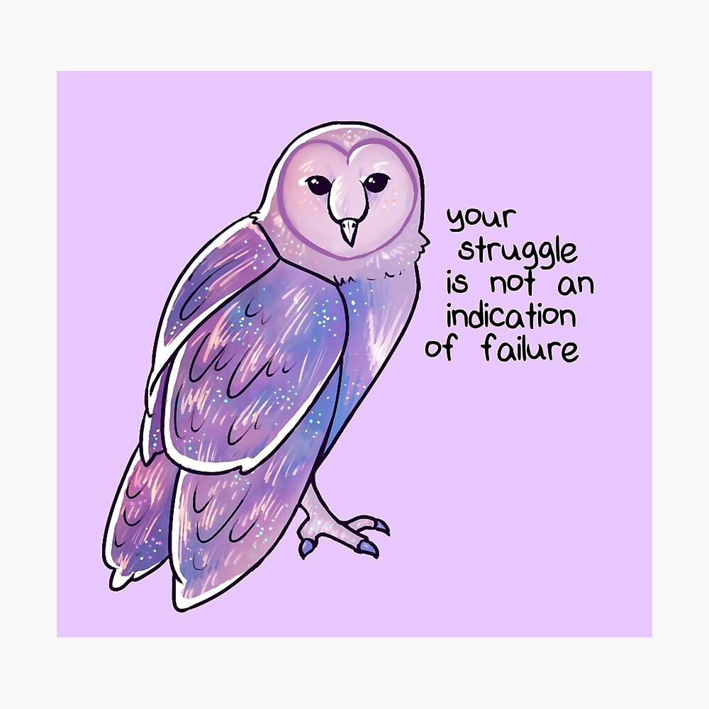 """""""Ihr Kampf ist kein Hinweis auf das Scheitern"""" Galaxy Sparkle Owl Fotodruck"""