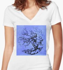 Old and Ancient Tree - Blue  Women's Fitted V-Neck T-Shirt