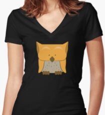 So cute Owl in orange Women's Fitted V-Neck T-Shirt