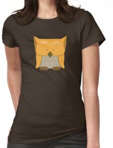 So cute Owl in orange Womens Fitted T-Shirt