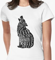 Wolves dont lose sleep over the opinion of sheep - version 1 - no background Women's Fitted T-Shirt