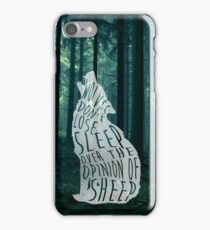 Wolves dont lose sleep over the opinion of sheep - version 2 - with background iPhone Case/Skin