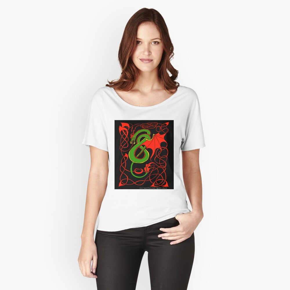 Red and Green Celtic Dragon Women's Relaxed Fit T-Shirt Front