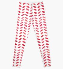 Red Watercolor Herringbone Leggings