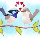 Adorable Blue Wren Birds in Love by JumpingKangaroo