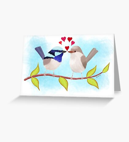 Adorable Blue Wren Birds in Love Greeting Card