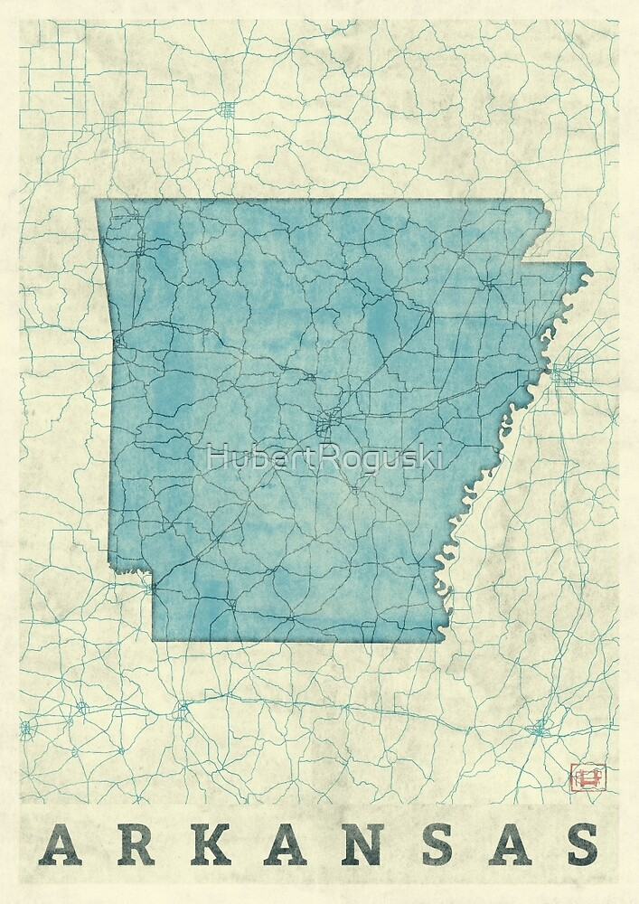Arkansas State Map Blue Vintage by HubertRoguski