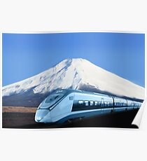 Intercity train with Mount Fuji background Poster
