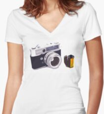 Film camera Women's Fitted V-Neck T-Shirt