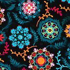 Suzani Inspired Pattern on Black by micklyn
