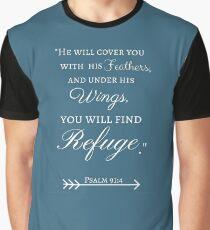 God's Refuge Psalm 91:4 Graphic T-Shirt