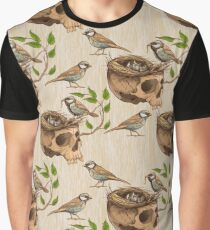 black and white illustration of birds making a nest in animal skull Graphic T-Shirt