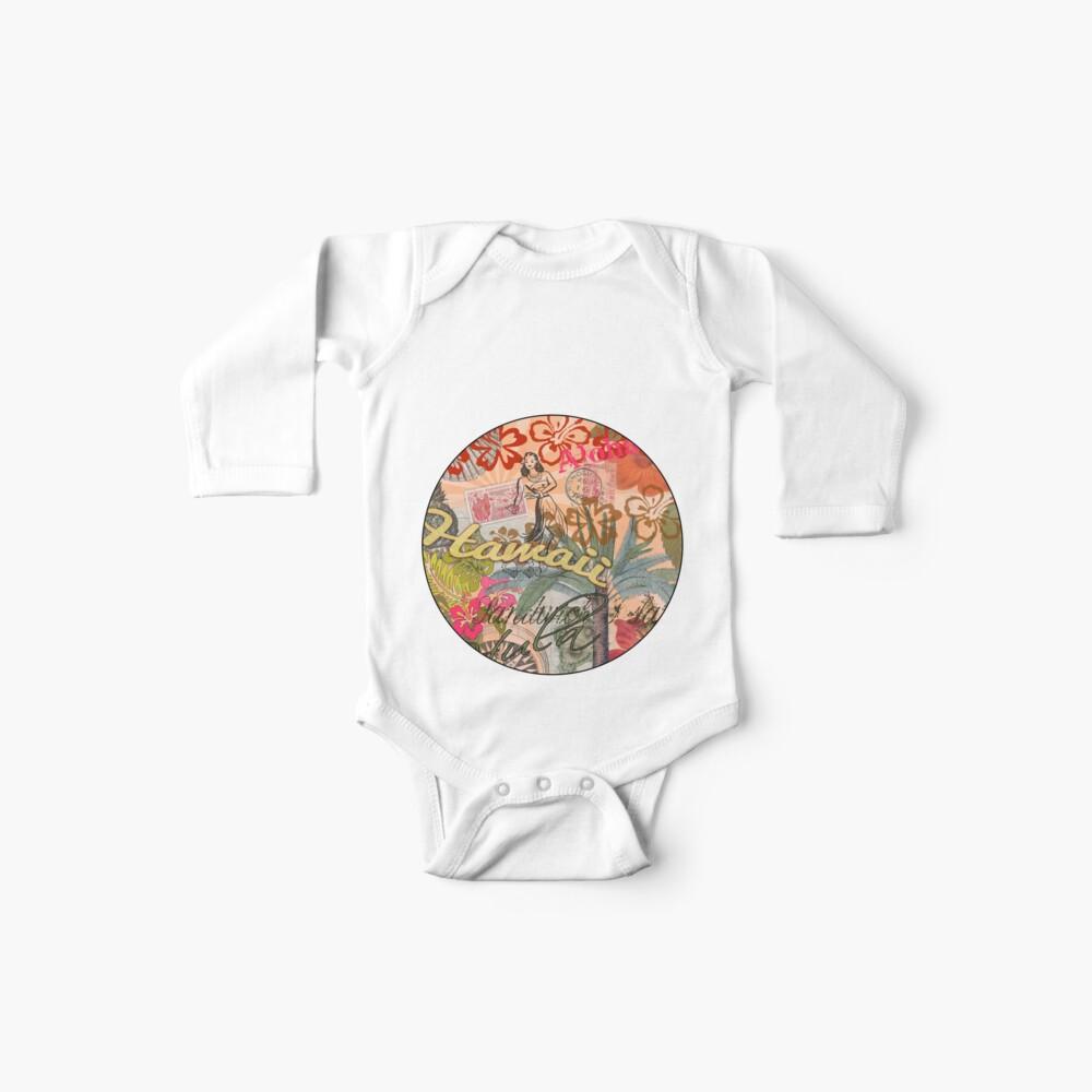 Vintage Hawaii Travel Collage tropical hawaiano colorido Bodies para bebé