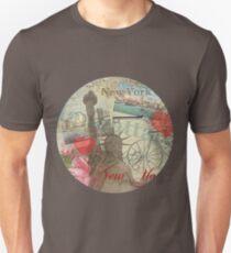 Camiseta unisex Vintage New York City Travel Collage Statue of Liberty