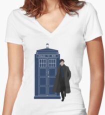 Dr. Who / Sherlock Women's Fitted V-Neck T-Shirt