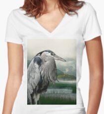 Heron Lake Women's Fitted V-Neck T-Shirt