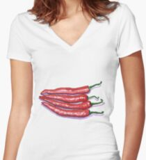 Red Hot Chilis Women's Fitted V-Neck T-Shirt