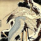 'Two Cranes on a Pine Covered with Snow' by Katsushika Hokusai (Reproduction) by Roz Abellera Art Gallery