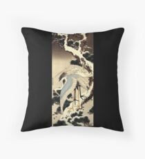 'Two Cranes on a Pine Covered with Snow' by Katsushika Hokusai (Reproduction) Throw Pillow