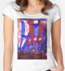 Hot Air Balloon RWB with Birds  Women's Fitted Scoop T-Shirt