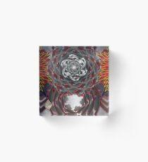 Dark Swirl and Cross Bone Rose Acrylic Block