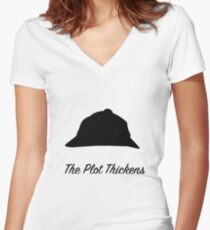 """Sherlock Holmes """"The Plot Thickens"""" Women's Fitted V-Neck T-Shirt"""