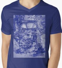 Thatched Cottage - Cyanotype of Original Painting  Mens V-Neck T-Shirt