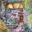 Thatched Cottage Watercolour and Ink Painting by Heatherian