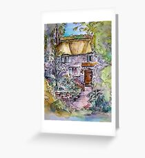 Thatched Cottage Watercolour and Ink Painting Greeting Card
