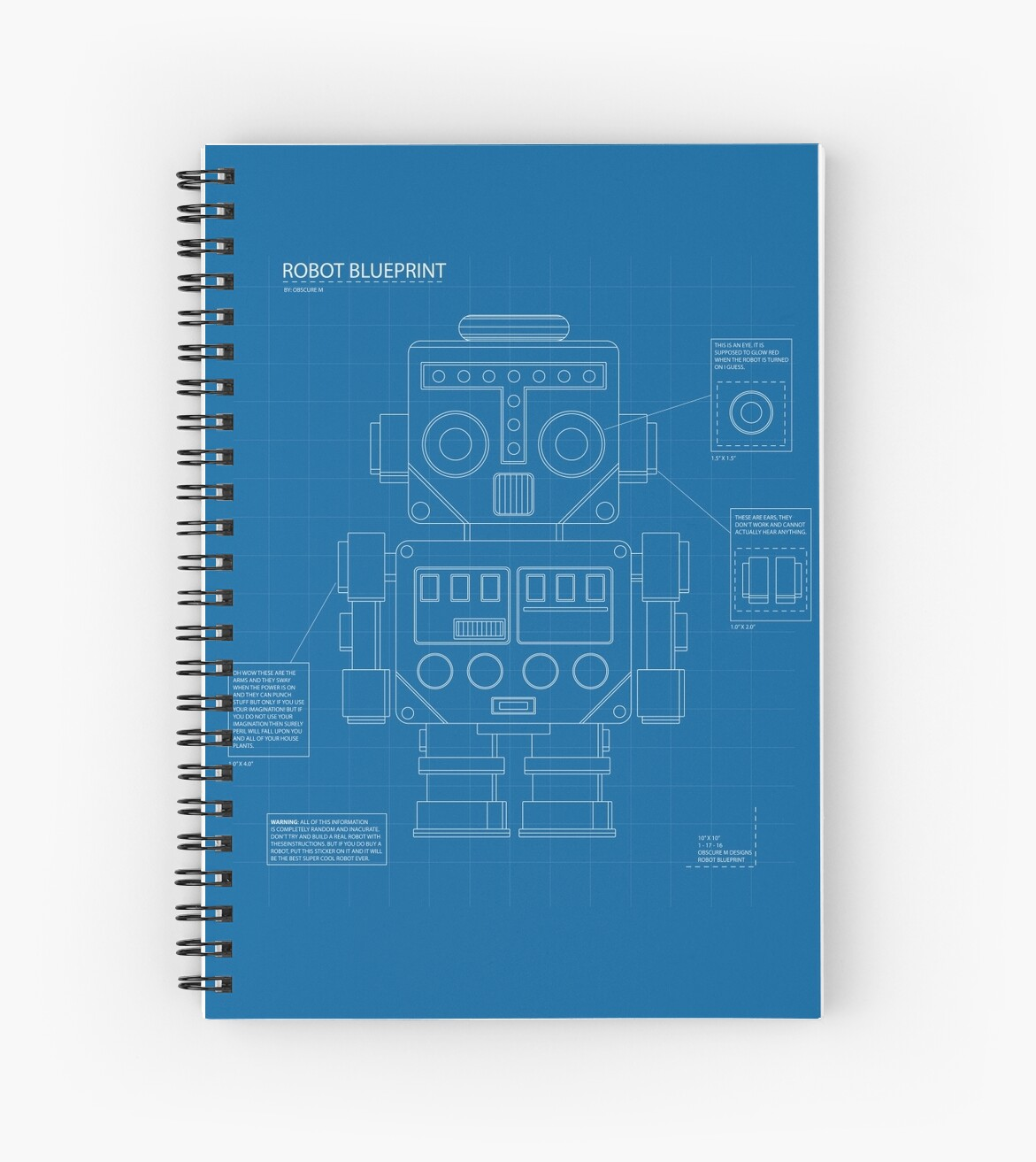 Retro robot blueprint spiral notebooks by obscurem redbubble retro robot blueprint by obscurem malvernweather Image collections