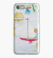 Children playing with sailboats. iPhone Case/Skin