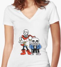 Undertale - Sans and Papyrus Women's Fitted V-Neck T-Shirt