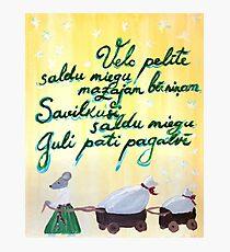 Velc pelite Latvian folk song - lullaby Photographic Print
