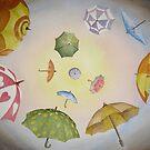 Umbrella Vortex Watercolour Painting by Heatherian