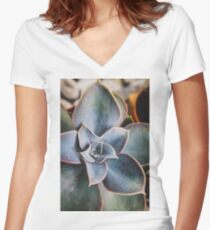 close up of succulent Women's Fitted V-Neck T-Shirt