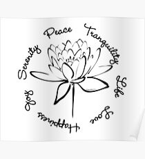 Serenity Tranquility Lotus (Black) Poster