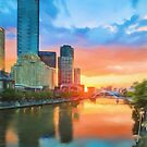 Melbourne River Sunset (GO3) by Ray Warren