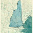 New Hampshire State Map Blue Vintage by HubertRoguski