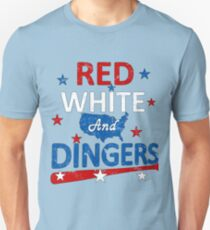 Red White and Dingers Baseball Softball Digital Art T-Shirt