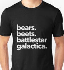 Bears. Beets. Battlestar Galactica. (White Variant) T-Shirt