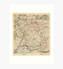 June 12 1945 World War II HQ Twelfth Army Group situation map Art Print