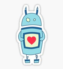 Cute Clumsy Robot With Heart Sticker