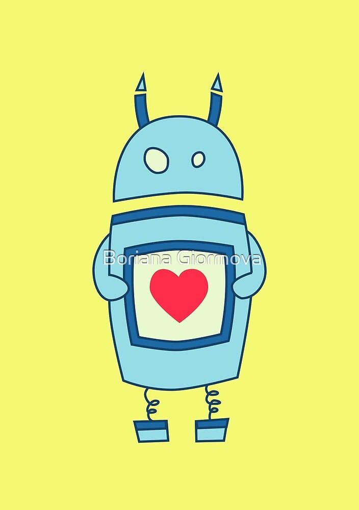 Cute Clumsy Robot With Heart by Boriana Giormova