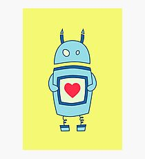 Cute Clumsy Robot With Heart Photographic Print